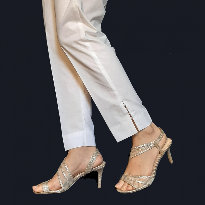 Cotton Trouser Pant - For Women Ladies - With Side Pearl