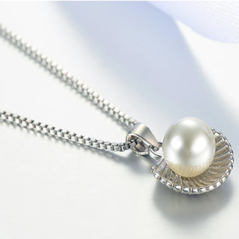 Shell Necklace - AAA Zircon - For Women - Silver