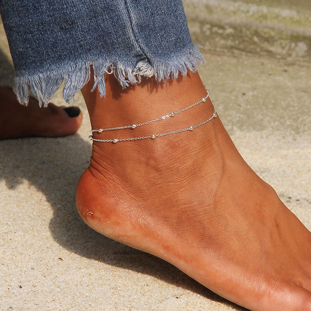 Double Layer Beads Anklets For Women - Silver