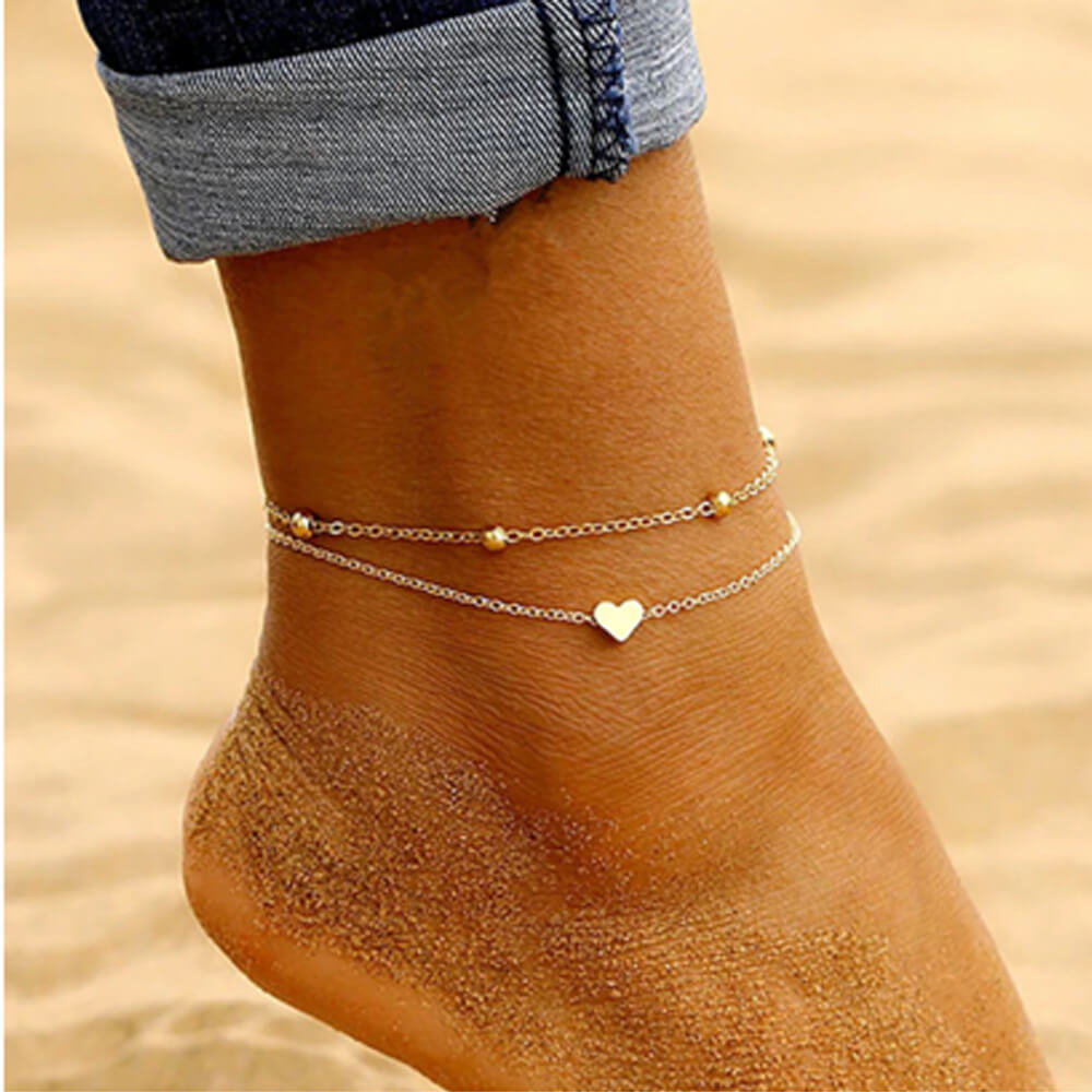 Double Layer Beads Anklets For Women - Golden