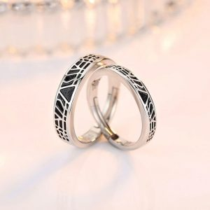 Design AAA Zircon Adjustable Rings For Women Silver Black