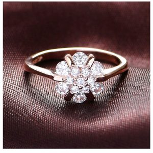 Floral AAA Zircon Ring For Women High Quality Rose Gold