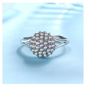 Floral AAA Zircon Ring For Women High Quality Silver
