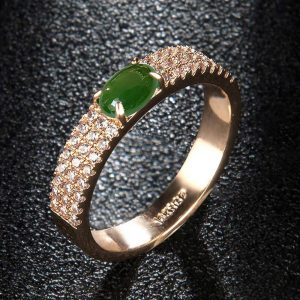 Diamantes Ring For Women With Green Stone AAA Zircon Silver
