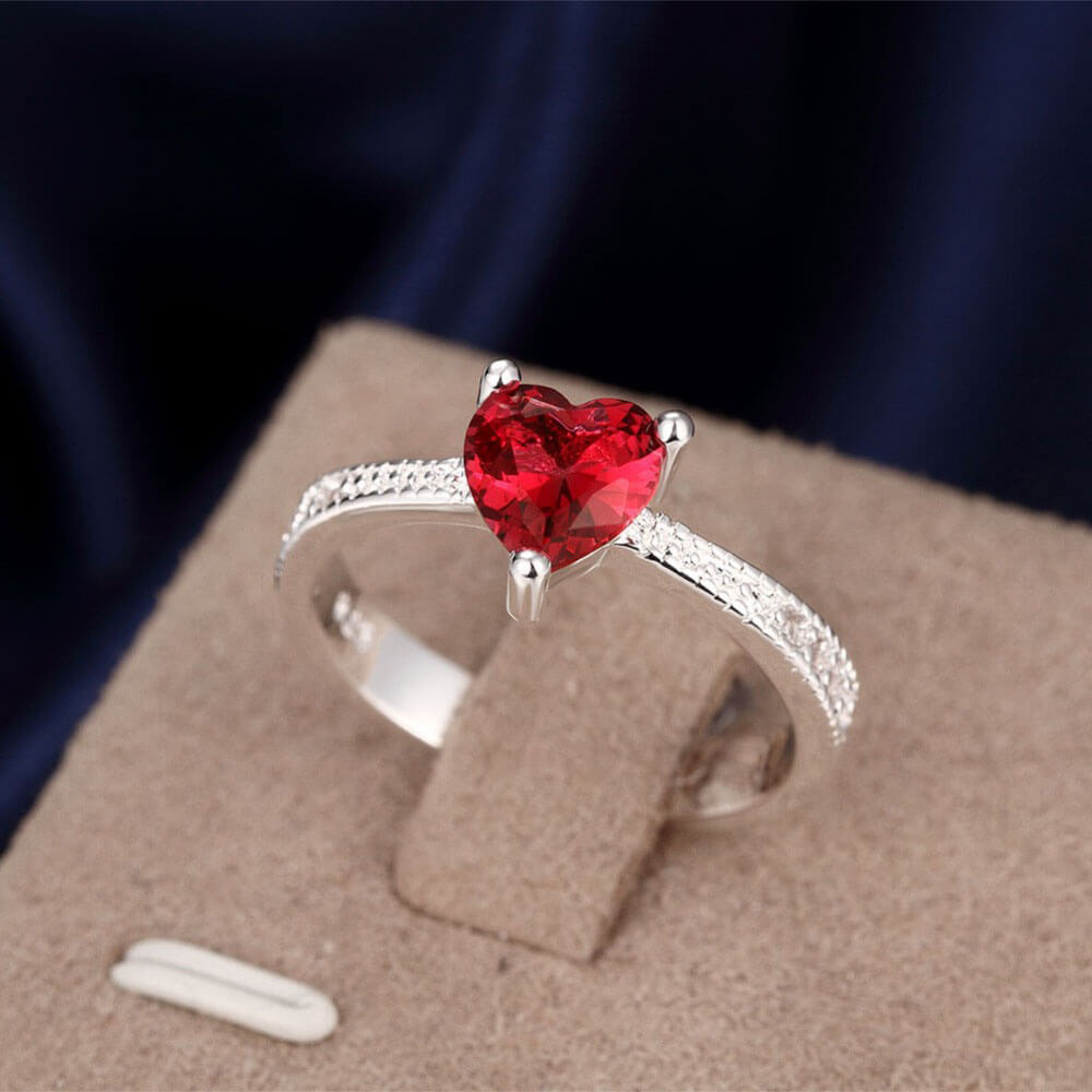 Diamantes Ring With Red Heart Silver Red