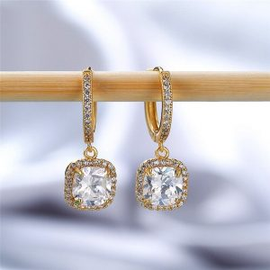 AAA Zircon - Drop Earring For Women - Gold
