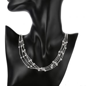 Silver Plated - Multi Chain - Necklace For Women - Silver