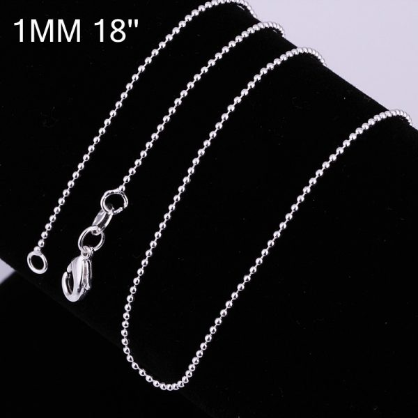Beaded Chain Necklace - Silver Plated - Silver