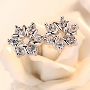 AAA Zircon - Small Earring - For Women Ladies - Silver