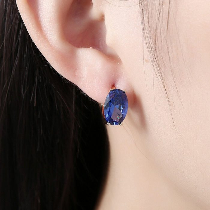 Gold Plated - AAA Zircon - Earring With Blue Stone - For Women Ladies - Gold