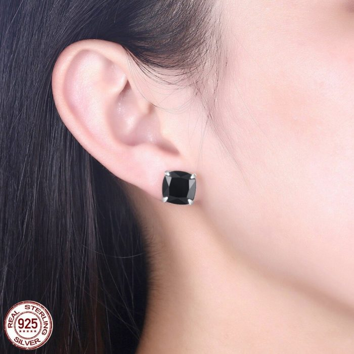 Gold Plated - Stud Earring With Black Stone