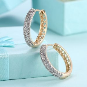 Gold Plated With Diamantes - AAA Zircon - Earring - For Women Ladies - Gold