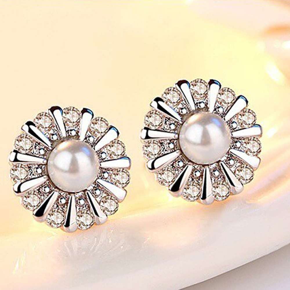 AAA Zircon - Flower Earring - Small For Women - Silver