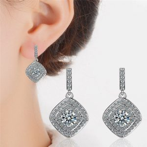 AAA Zircon - Drop Earring For Women - Silver