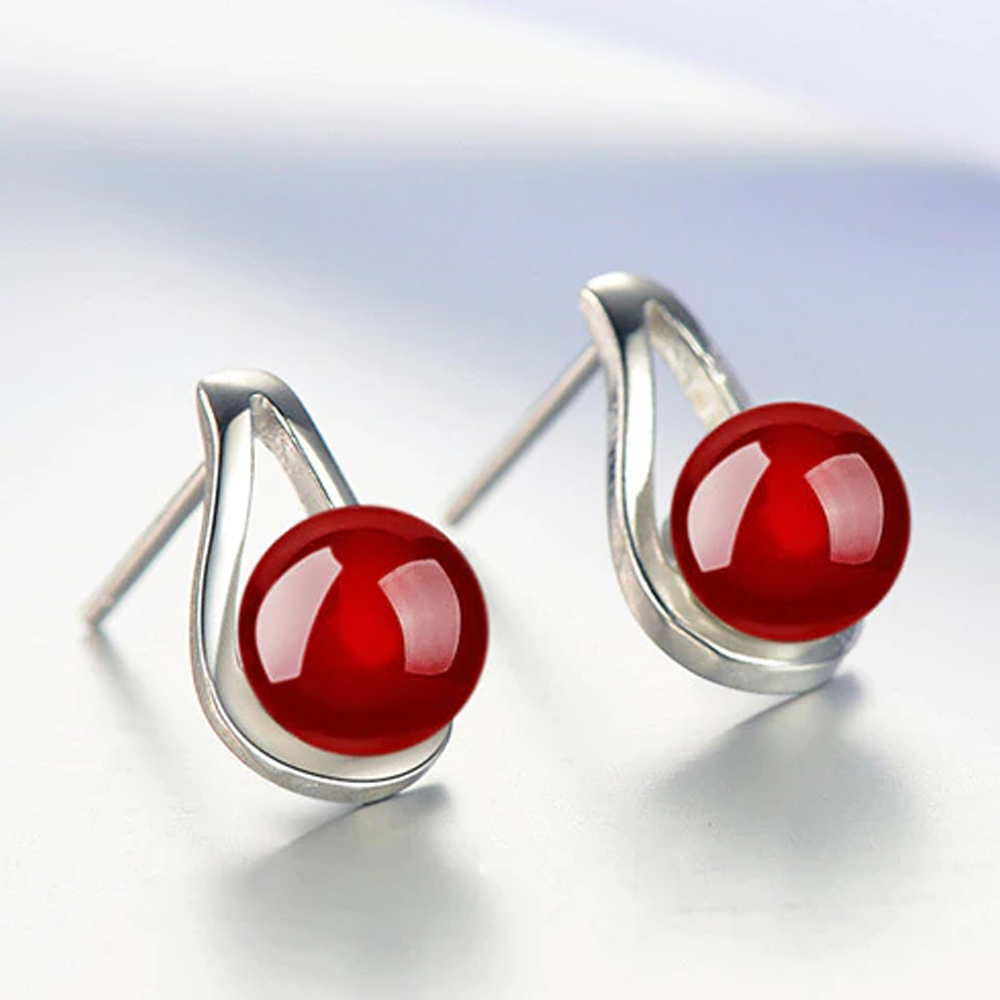 AAA Zircon - Small Earring - For Women Ladies - Silver / Red