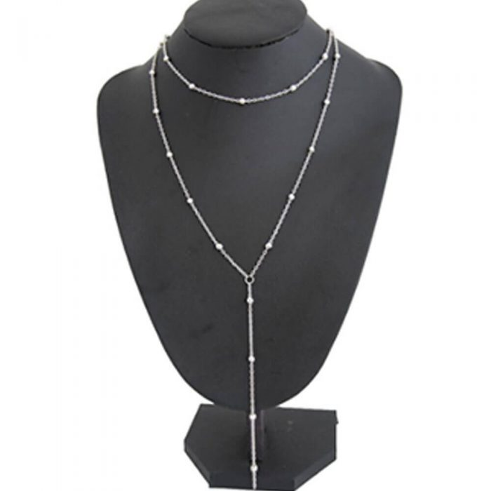 Long Chain Beaded Necklace For Women Ladies Gold