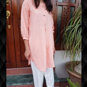 Embossed Cotton Kurti Peach