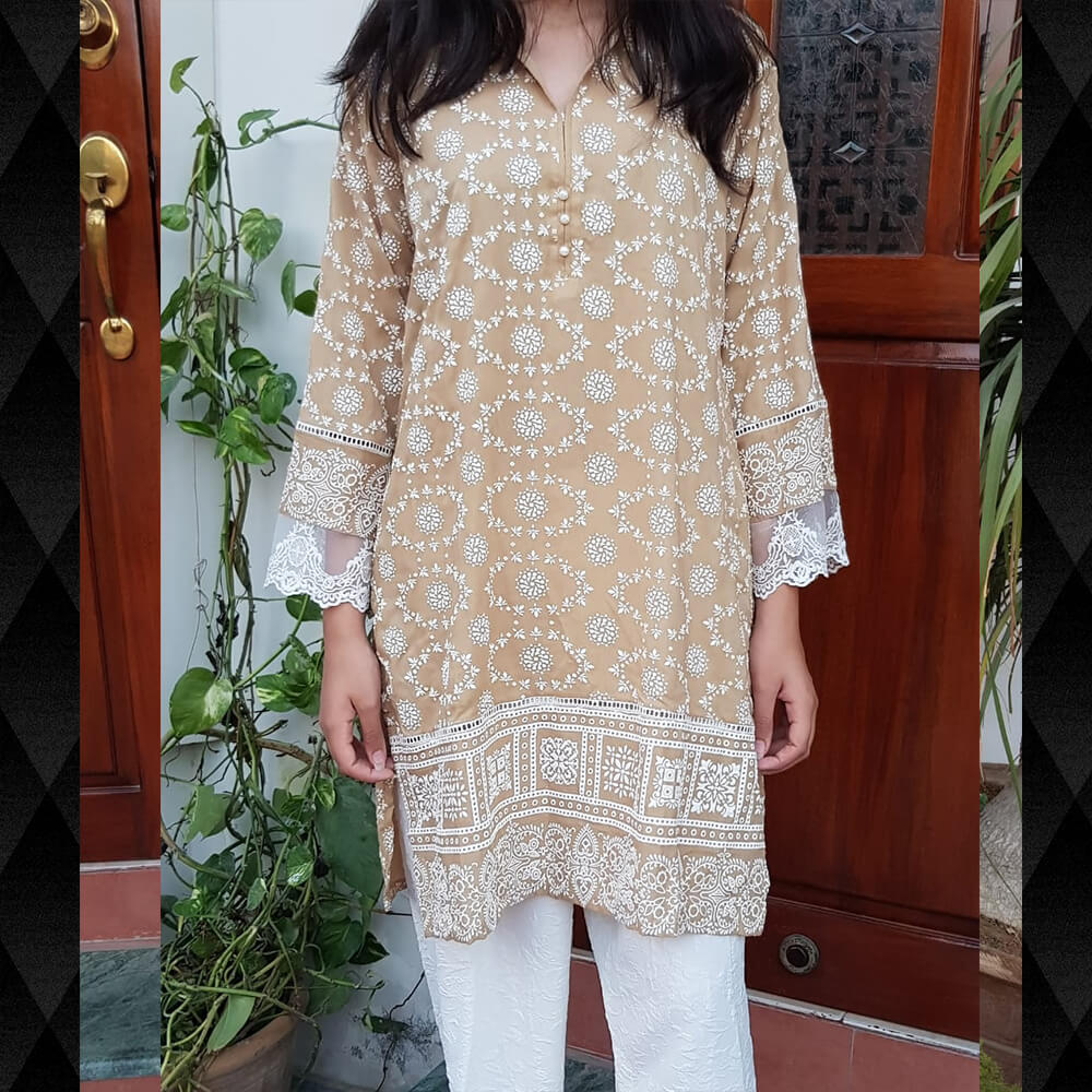 Embossed Cotton Kurti With Lace Brown