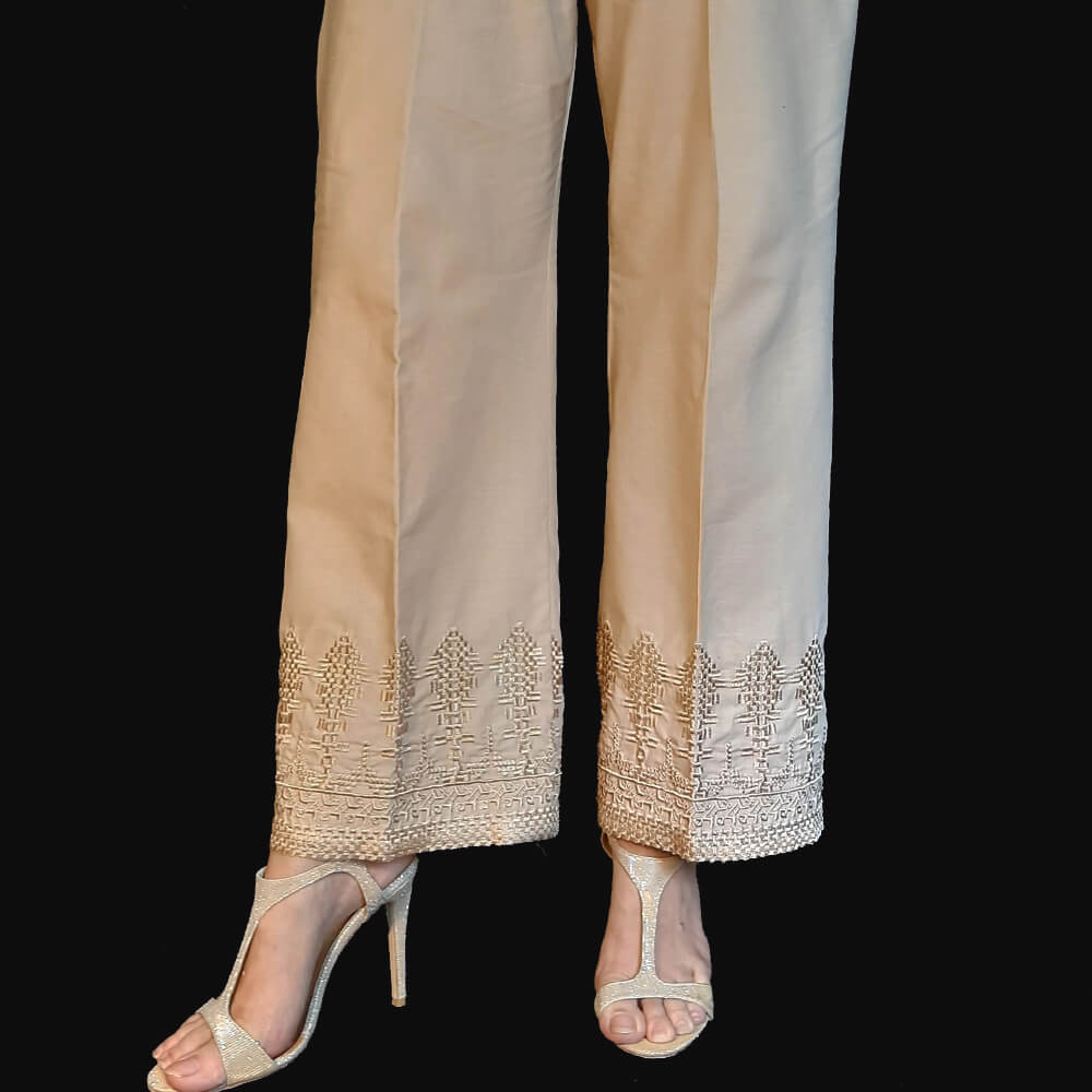 Embroided Palazzo Cotton Beige
