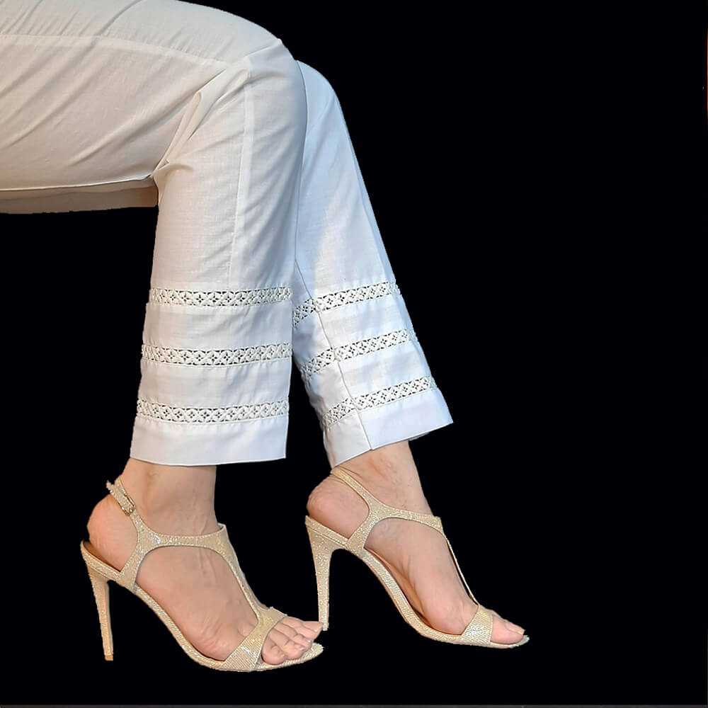 Laces Embellished Cotton Trouser White