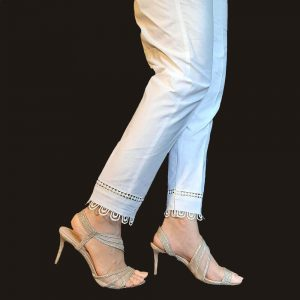 Laces embellished Cotton Trouser For Women White