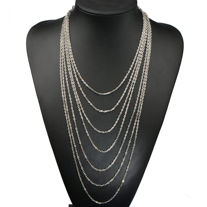 Silver Long Multi Chain Necklace - AN07