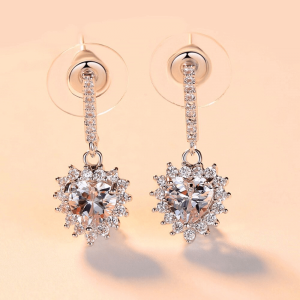 Drop Earring Zircon With Filled Sterling Silver