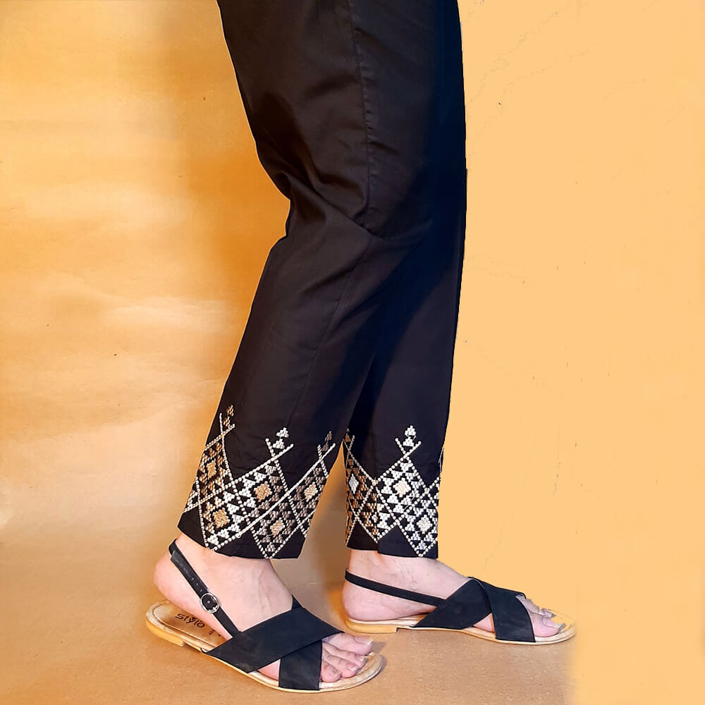 Black Trouser With Beige Embroidery Cotton