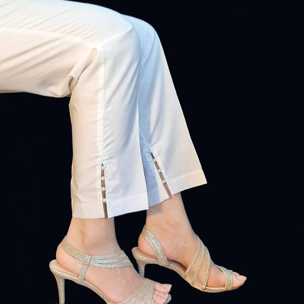 Cotton Trouser With Pearls White