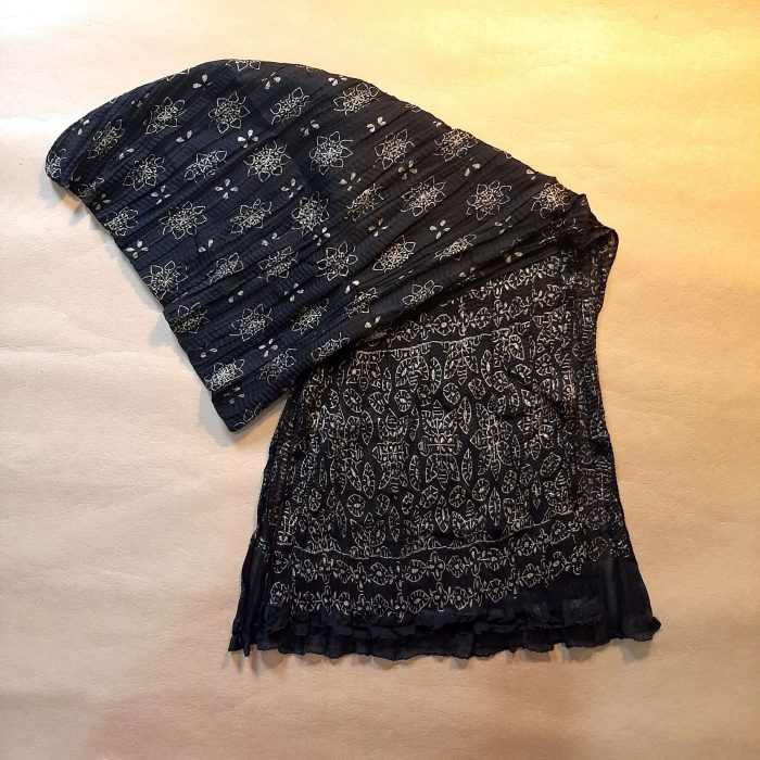 Crush Dupatta Block Print Chiffon Large