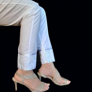 Embroided Trouser Cotton White