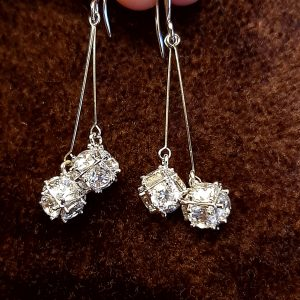 AGE0027 - Silver Sparkling Crystal Square Drop Earring