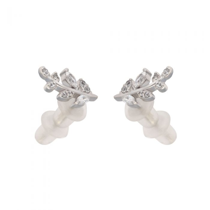 AGE0010 - Silver Sparkling Crystal Leaves Earring