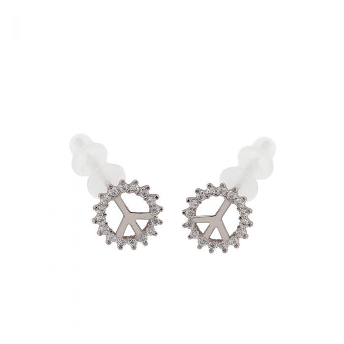 AGE0017 - Silver Sparkling Crystal Peace Earring