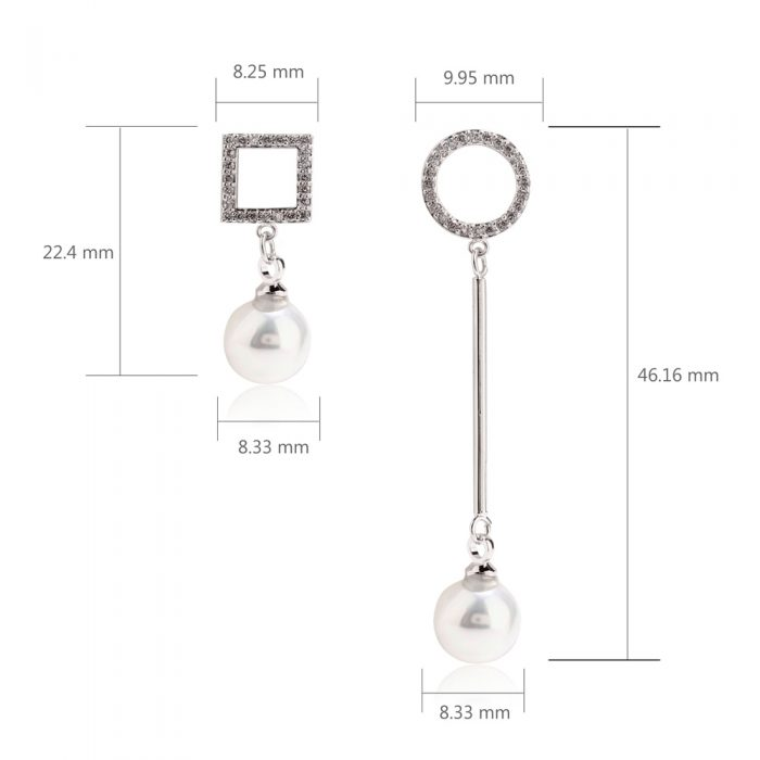 AGE0024 - Silver Crystal Pearl Square & Circle Earring