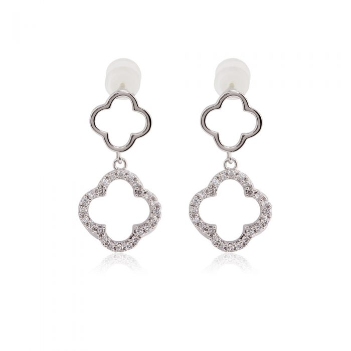 AGE0028 - Silver Sparkling Crystal Fashion Earring
