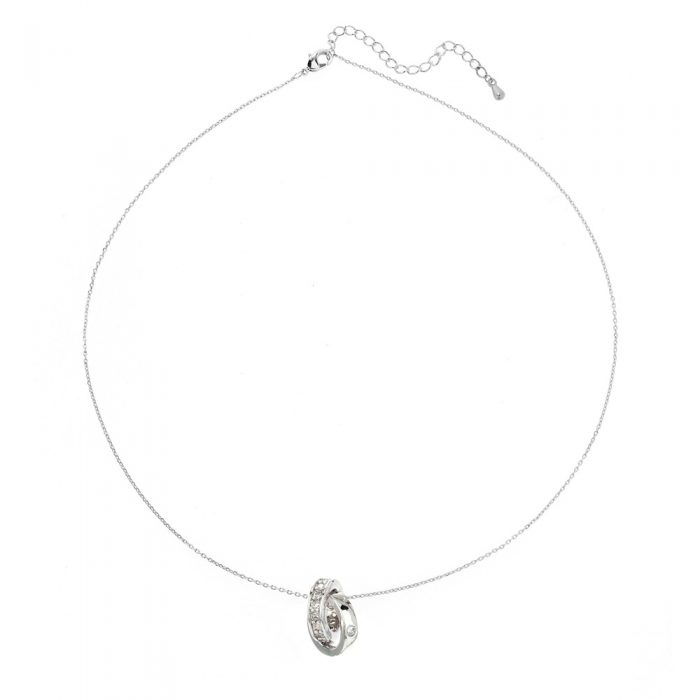 AGN0010 - Sparkling Silver Plated Double Crystal Ring Necklace