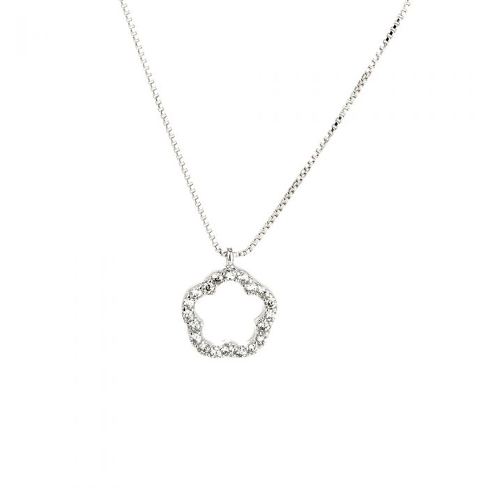 AGN0011 - Sparkling Silver Plated Flower Crystal Necklace