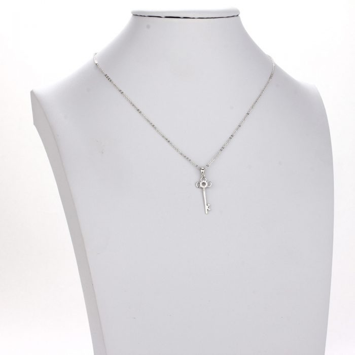 AGN0012 - Sparkling Silver Plated Key Crystal Necklace