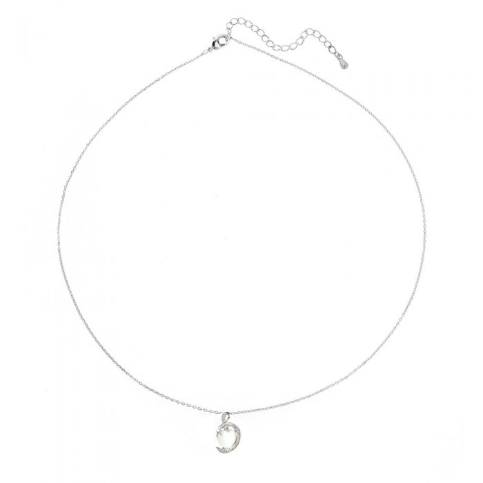 AGN0013 - Silver Plated Crystal Heart Pearl Necklace