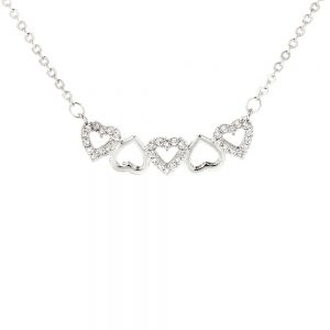 AGN0015 - Sparkling Silver Plated Crystal Hearts Necklace
