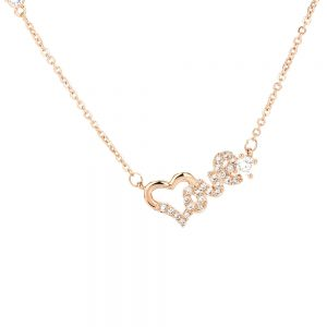 AGN0016 - Gold Plated Crystal Heart Love Necklace