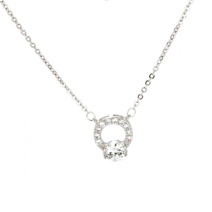 AGN0017 - Sparkling Silver Plated Crystal Necklace