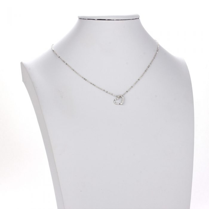 AGN0024 - Silver Plated Crystal Heart Necklace