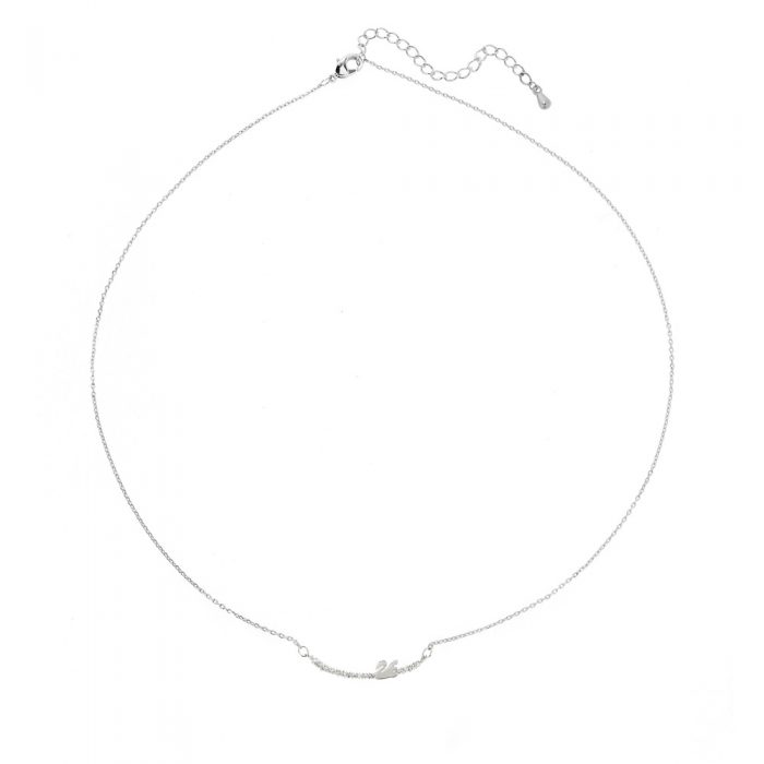 AGN0028 - Silver Plated Crystal Swan Necklace