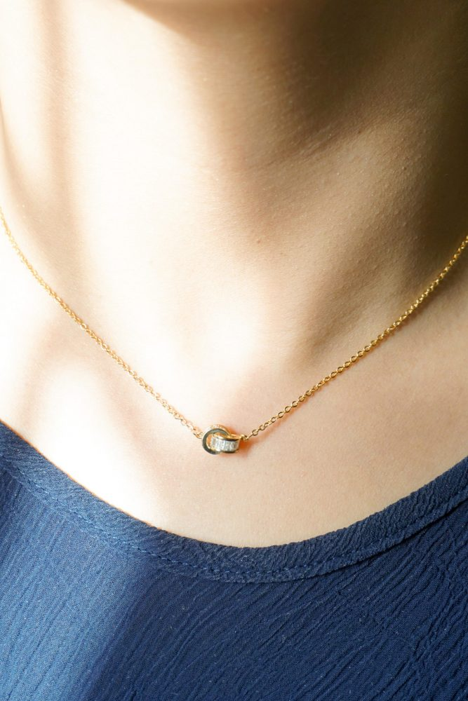 AGN0029 - Gold Plated Crystal Necklace