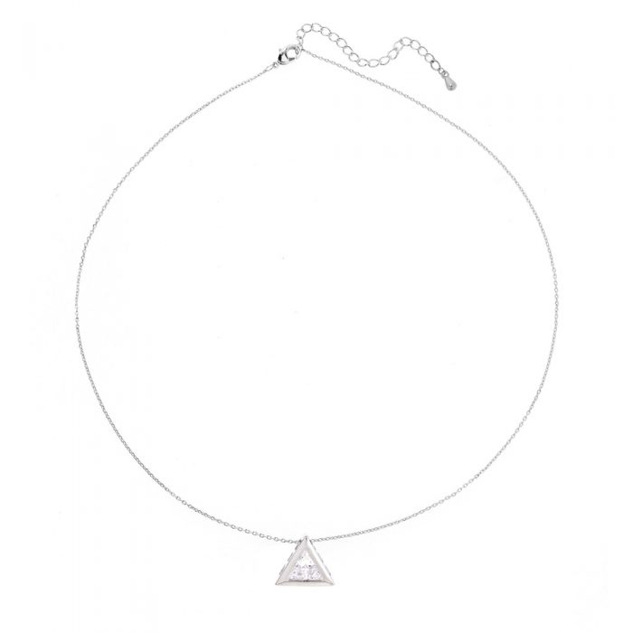 AGN0032 - Sparkling Silver Plated Crystal Triangle Necklace