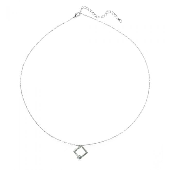 AGN0040 - Silver Sparkling Crystal Square Necklace