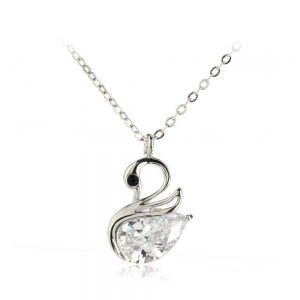 AGN0043 - Silver Women's Crystal Swan Necklace