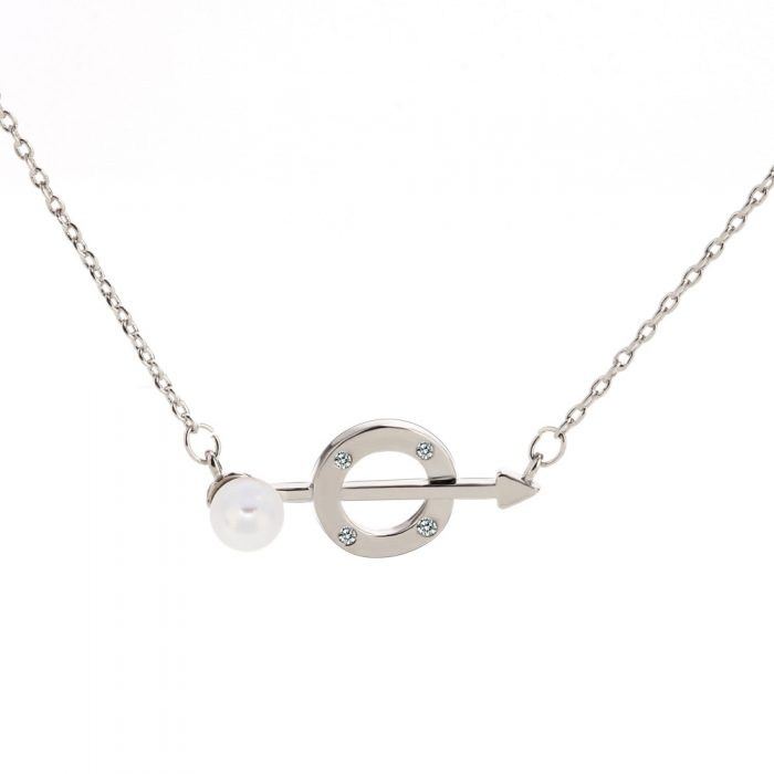 AGN0045 - Silver Crystal Pearl Circle & Arrow Necklace